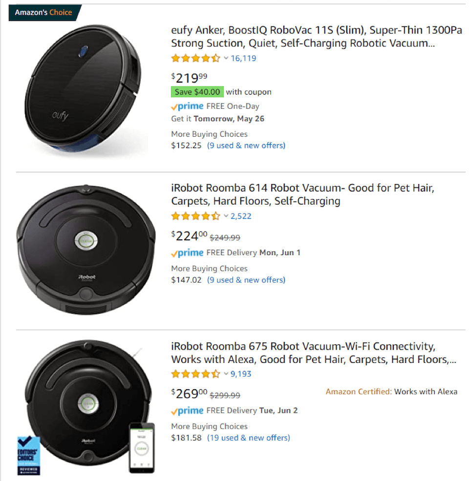 Amazon search results for Roomba vacuums