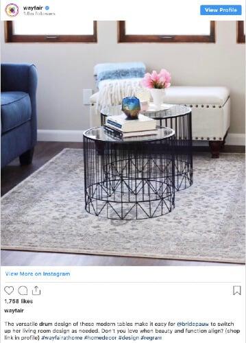 Wayfair Instagram post