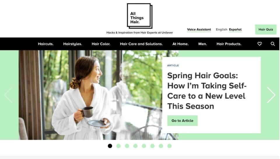 allthingshair.com screenshot demonstrating benefit of content hub