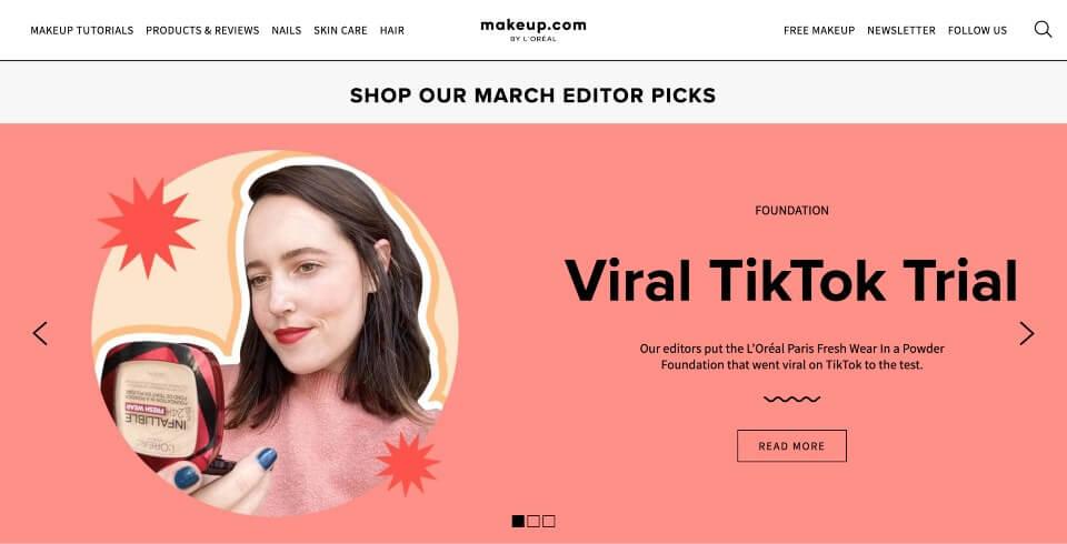 makeup.com screenshot of content marketing hub