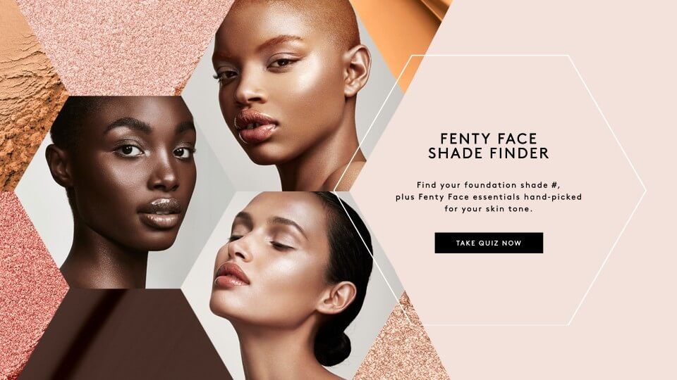Example of beauty marketing - Fenty face shade finder website to help consumers choose the right cosmetic colors
