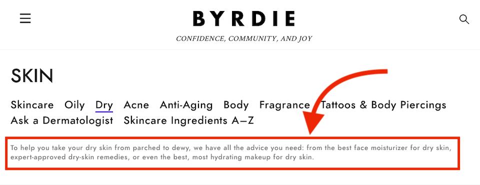 byrdie.com dry skin category description