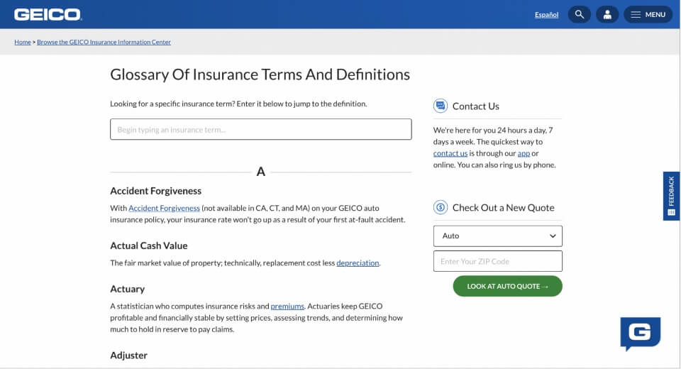 geico glossary content marketing example
